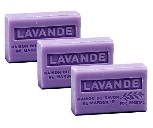 Maison du Savon de Marseille - 3er-Set Provence-Seifen mit Sheabutter - Lavendel (Lavande) - 3 x 125 g -