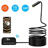Koolertron Wireless Endoscope 5.0 Megapixels, WiFi Endoskopkamera Inspektionskamera HD 1944P, Drahtlose Borescope mit 4 LED-Leuchten für IOS Android, Tablet, MAC, Windows (3,5M)
