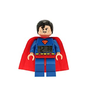 Lego DC Comics 9005701 Super Heroes Superman Minifigure Clock, Multi Coloured, 9.5 inches tall