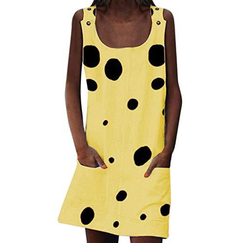 LOPILY Sommerkleider Damen Kleider Lose Tunika Blusenkleider mit Taschen Lässige Punkt Gedruckter Strandkleid Knielang Tunika Tshirt Kleid Bluse mit Polka Dots(Gelb,EU-44/CN-3XL)
