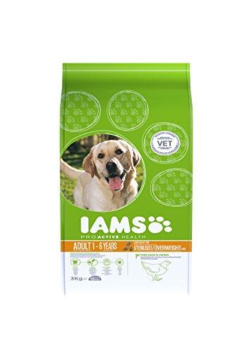 Iams, proactive health adult light in fat, cibo secco per cani adulti sterilizzati o in lieve sovrappeso, da 1 anno, taglia media, crocchette cani con pollo, 3 kg