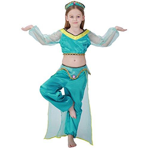 M&A 2 pics Cosplay Disfraz Para Niñas Carnaval Halloween Navidad Actusción Danza de India de Vientre Princesa Jasmine Princesa Arabe Verde 110-120cm