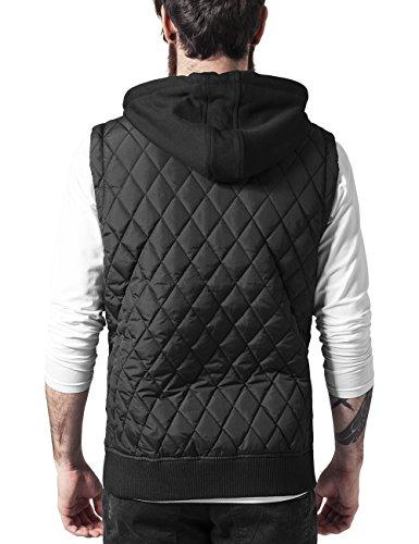 Urban Classics Herren Weste Diamond Quilted Hooded Vest Schwarz (blk 17)
