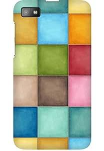 AMEZ designer printed 3d premium high quality back case cover for Blackberry Z10 (Pastel squares)