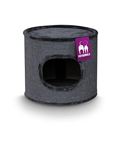 Petrebels Katzen-Kratztonne-Sisal Champions Only Dome 40 schwarz. 45x45cm/Höhe 40cm. Katzen-Kratzbaum als Cat-Tower für kleine bis mittelgroße Katzen