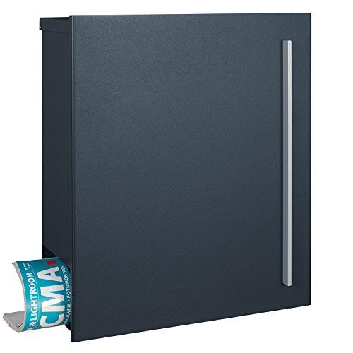 MOCAVI Box 210 XXL Design-Briefkasten groß anthrazit-grau (RAL 7016) mit Zeitungsfach, 16l-Postkasten, Wandbriefkasten mit Schloss rechts