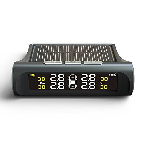 Tutuo tpms sistema monitor pressione pneumatico da auto senza fili energia solare con display lcd tempo reale (pressione e temperature), funzione di allarme automatico e 4 sensori esterni