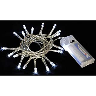 Christmas Concepts® Battery Operated Fairy Lights With 20 White LED's - 2 Metre Length - Christmas/Wedding/Everyday Decoration