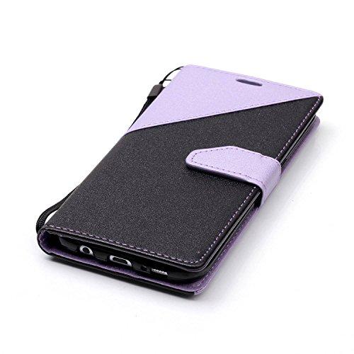 S7Edge Glitzer Spiegel TPU Fall [mit 1Stylus Pen]–Newstars Fashion Schöne Luxus 3D Handgefertigt Diamant Glitzer Bling Soft Shiny Sparkling mit Glas Spiegel Backplate Schutzhülle für Samsung Galax H- Light Purple + Black