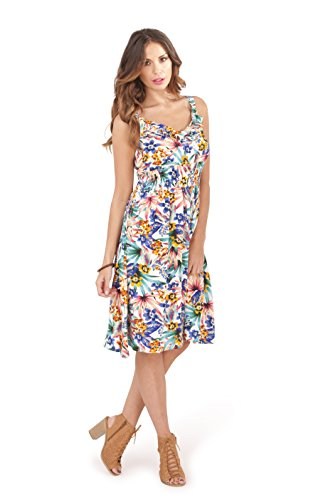 Martildo Fashion, Ladies Tropical Empire Waist Knee Length Skater Summer Holiday Dress, White, Large (UK 16-18)