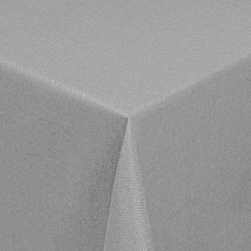 Leinen Optik Farbe Größe wählbar - Eckig 135 x 200 bzw.135x200 bzw. 135x200 cm Hellgrau mit Lotus Effekt Tischdecke mit Fleckschutz von DecoHometextil - Hellgrau TD Eckig 135 x 200 cm