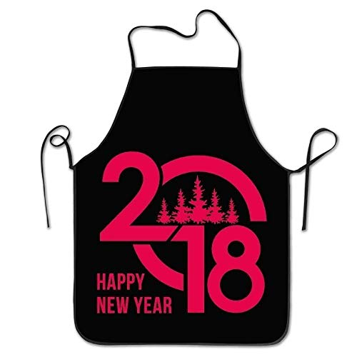 ERCGY 2019 Apron Personalized Aprons Happy New Year Design Lock Edge Unisex Cooking Apron (Happy Halloween My 2019)
