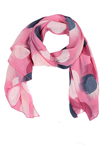 Zwillingsherz Seiden-Tuch mit Punkte Motiv - Hochwertiger Schal für Damen Mädchen - Halstuch - Umschlagstuch - Loop - weicher Schlauchschal für Frühjahr Sommer Herbst und Winter - pink