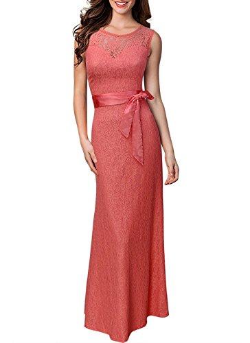 KAXIDY Femme Dentelle Robe Col Rond Longues Robe de Soirée Robe Longue Rose