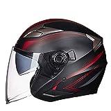 ZBTK Helm- Doppelter Objektiv-elektrischer Motorrad-Sturzhelm-Männer und Frauen vier Jahreszeiten Winter Anti-fog-halber Sturzhelm (Farbe : C, größe : L)