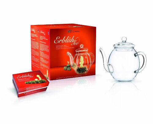 "Creano Teeblumen Mix - Geschenkset ""ErblühTee"" mit Glaskanne   Weißtee (6 verschiedene Sorten) 7"