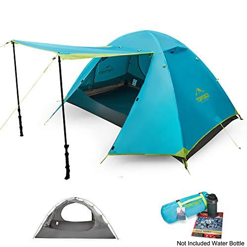 Topnaca 1 2 3 4 Man Rucksackreisen Camping Kuppel Zelt, 3 Saison leicht wasserdicht Vorzelt Zwei Türen Double Layer mit Aluminium-Ruten für Outdoor Family Beach Jagd Wandern Reisen (Hellblau/4P) -