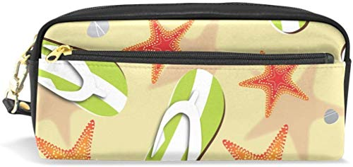 Flip Flops And Sea Stars On Beach Portable PU Leather Pencil Case School Pen Bags Stationary Pouch Case Large Capacity Makeup Cosmetic Bag