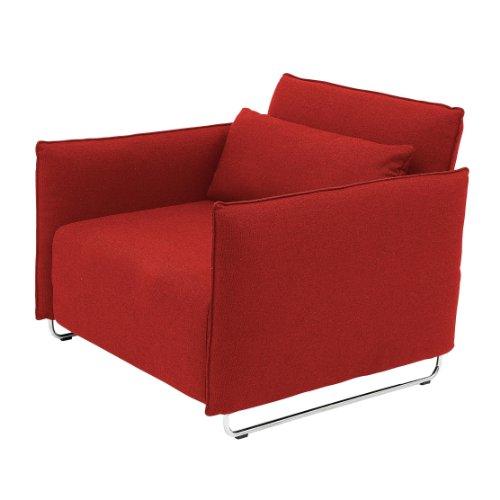 Softline Cord Sessel / Schlafsessel, rot Filz 622 BxHxT 95x76x96cm Gestell Chrom