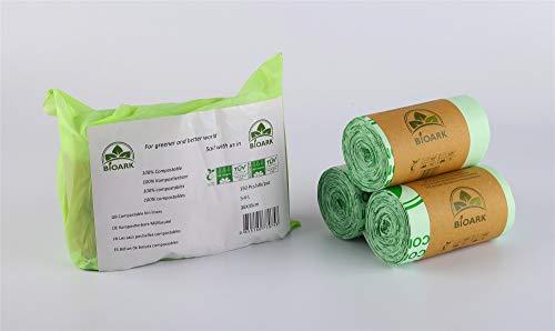 BIOARK Bolsa de Basura Biodegradable 100, 5-6 litros, 150 Unidades, extragruesa, Biodegradable y compostable...