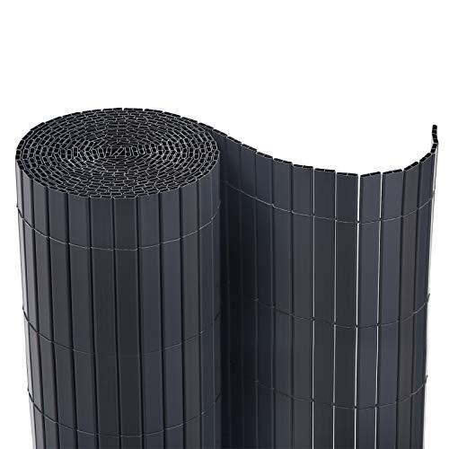 SONGMICS PVC Sichtschutzmatte Grau, 90 x 1000 cm (Zusammengesetzt aus 2 Matten, je 90 x 500 cm) GPF091GY