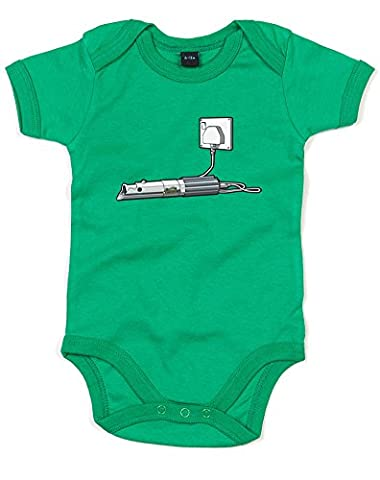 Out of Light, Printed Baby Grow - Kelly Green/Transfer 6-12 Months