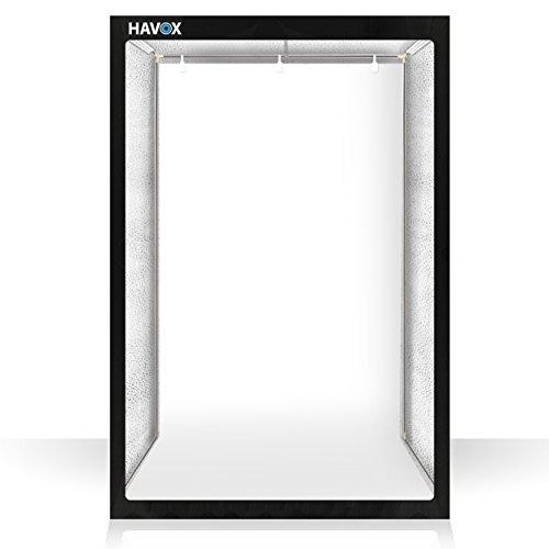 HAVOX - Fotostudio HPB-200 - Maße 120x80x200cm - 6X LED-Beleuchtung Tageslicht 5500k - 30,000 Lumen - CRI 93 - Machen Sie Ihre kommerziellen Fotos zu E-Commerce
