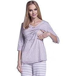 Happy Mama Para Mujer Pijama Premamá Embarazo Lactancia Estampado de Rayas. 394p (Beige, EU 38/40, M)