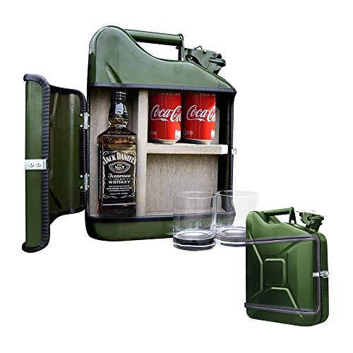 mikamax - Jerrycan Giftset 10L - Jerrycan Geschenkset - Whiskybar - Jack Daniels Canister - 10L - Grün - Mit Zwei Whiskey Gläsern - Maße: 39 x 29 x 13 cm - Whiskey Set