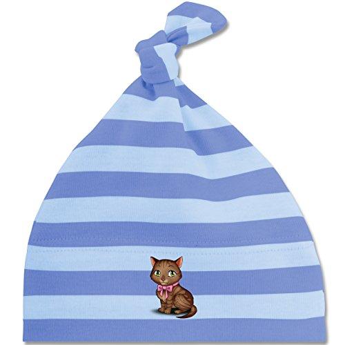Tiermotive Baby - Kätzchen mit Schleife - Unisize - Blau/Babyblau - BZ15S - gestreifte Baby Mütze mit Knoten / Bommel für Jungen und Mädchen (Gestreifte Kätzchen)