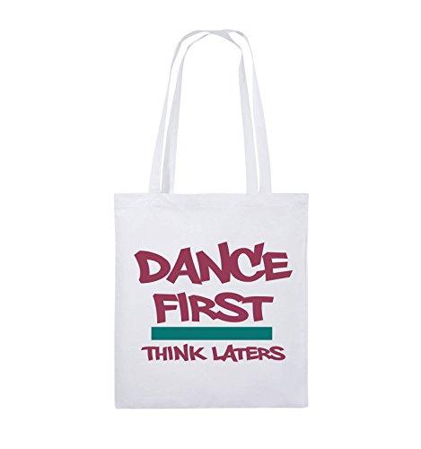 Comedy Bags - Dance first think laters - Jutebeutel - lange Henkel - 38x42cm - Farbe: Schwarz / Weiss-Pink Weiss / Fuchsia-Türkis