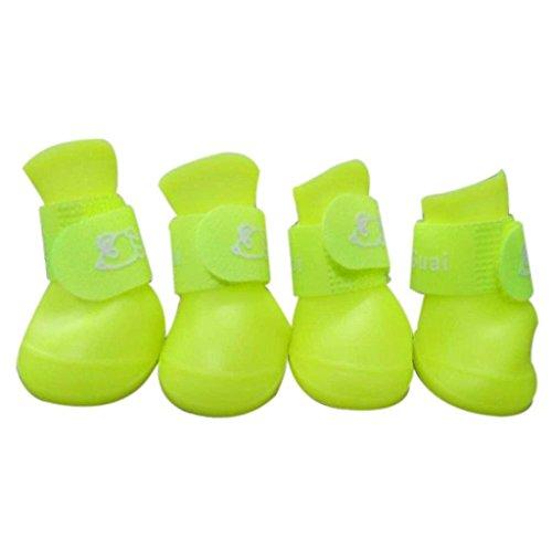 Ukamshop Hund Bonbon Farbe wasserdicht Haustier Pfotenschutz Stiefel Schuhe Hundeschuhe (XL, fluoreszierend)