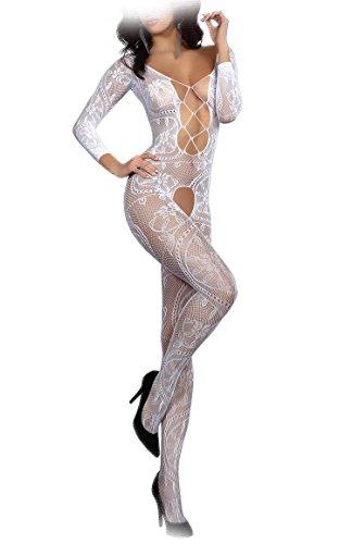 Preisvergleich Produktbild Livia Corsetti ZITA WHITE Bodystocking sexy Netz-Catsuit feine Spitze Overall langarm offen im Schritt, S/L weiß
