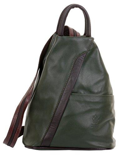 Primo Sacchi ® Italienisch Weiche Napa Leder dunkelgrün & braun Top Griff Schultertasche Rucksack Rucksack. Inklusive Markenschutz-Aufbewahrungstasche (Top Zip Haut)