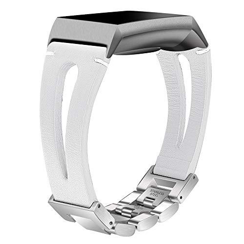 samLIKE Armband Kompatibel mit Fitbit Charge 3 für Herren und Damen Edelstahl Ersatzarmband Leder Sportarmband Aushöhlen Design Einstellbar Band, 4 Farben 165MM(S) (Weiß)