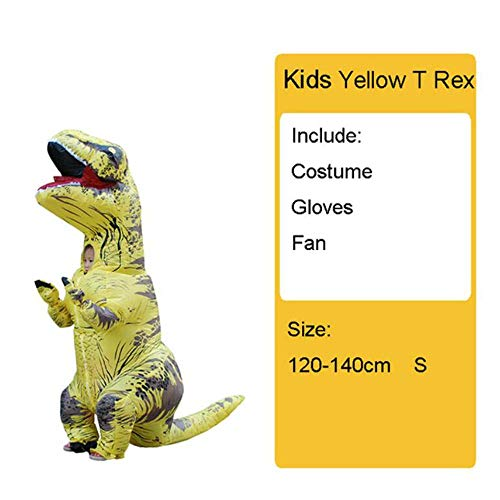 Blow Kind Up Trex Kostüm - GAOXUQIANG Erwachsene Kinder Aufblasbare Dinosaurier Kostüm T REX Frauen Männer Kostüme Dinosaurier Halloween Party Kostüm Anzug Karneval Cosplay,Kidsyellow