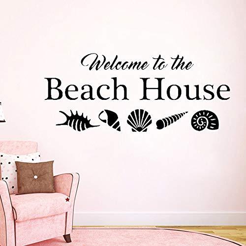 supmsds Willkommen am Strand Haus Wandtattoo Muscheln Muscheln Startseite Urlaub Vinyl Aufkleber Zitat Ozean Sea Life Thema Dekoration 148X63 cm