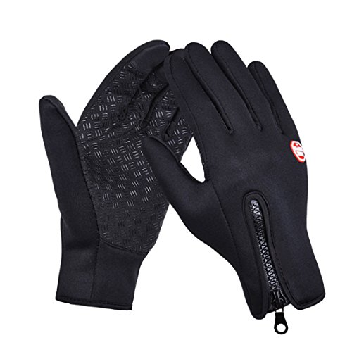 CBValley Windproof Touchscreen Sport Gloves Unisex Winter Outdoor Full Finger Gloves for Running Cycling Skiing Hiking Hunting Climbing Camping, Outdoor Sports in Winter-Black (Black, XL)