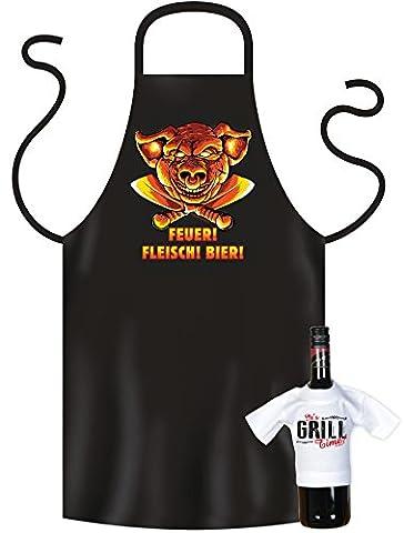 Cooles Geschenk für die nächste Grillparty, Grillschürze und Mini T-Shirt als Geschenke Set, Feuer! Fleisch! Bier!