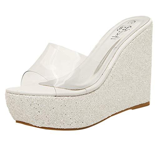 68d9e202f1 Dragon868 Scarpe A Zeppa Donna Sexy Pantofole con Tacco 12.5cm Scarpe Donna  Elegante Trasparenti Platform