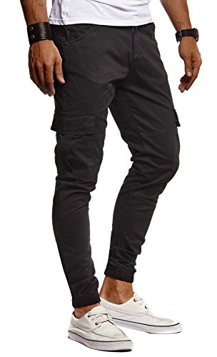 Leif Nelson Herren Hose Jeans Jeanshose Chino Cargo Chinohose Jogger Freizeithose Slim Fit LN9285; W29L30, Schwarz