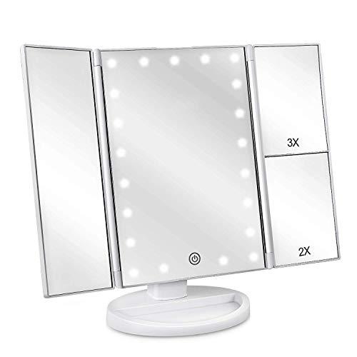 controllo della luce touch-screen specchio portatile a specchio ad alta definizione Specchietto da trucco retroilluminato con 36 luci a LED sezioni di ingrandimento tripla 1x 2x 3x
