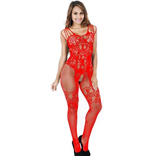 Büstenhalter,Manadlian Damen Spitze Kleid Body Unterwäsche Nachtwäsche Unterwäsche Puppe Nachtwäsche (Freie Größe, Rot) (N Höschen Bügel-bhs)