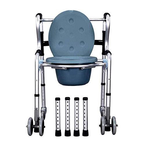 Multifunktionsnachtkommoden und Wanderer-Bad-Stuhl mit Rad-Tragbarer Toiletten-Faltendem Stahlaluminiumrahmen-Medizinischer Hilfe, Unfähigkeits-Mobilitätshilfe, Y-L