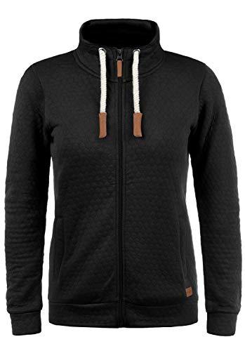BlendShe Patty Damen Sweatjacke Cardigan Sweatshirtjacke Mit Stehkragen, Größe:XXL, Farbe:Black (20100)