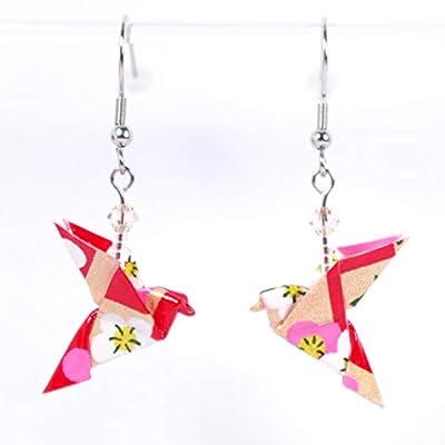 Boucles d'oreilles colombes origami rouges et dorées avec des fleurs