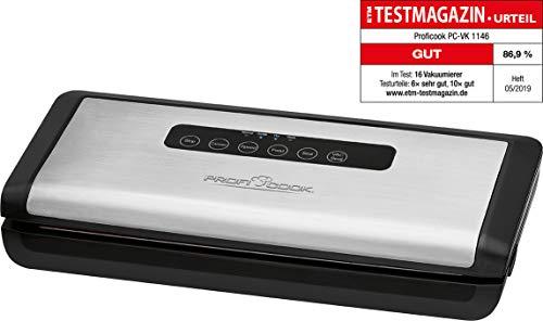 Profi Cook PC-VK 1146 vollautomatisches Edelstahl-Vakuumiergerät inkl. elektronischem Sensor Touch-Bedienfeld -