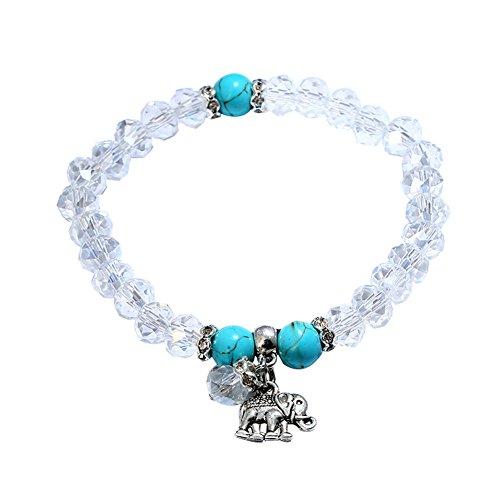 Man9Han1Qxi Damenmode Elefant Charm Faux Kristall Perlen Strang Armband Armreif Schmuck Dame Armband für Herren und Damen Damen White