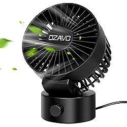 OZAVO Ventilateur USB Silencieux, Mini Fan Ventilateur PC Portable Avec Deux Lames Flexible Sans Bruit - 2 Vitesses Ajustable - Pour Bureau Sport Voyage Camping - Noir