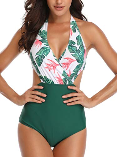 Dolphinfly costume da bagno interi monokini con push-up elegante bikini beachwear da mare spiaggia piscina(verde m)